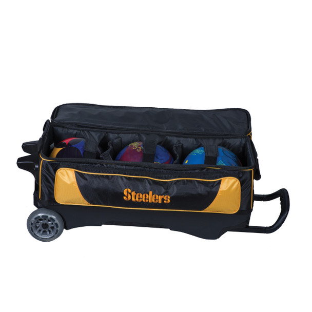 KR Strikeforce NFL Pittsburgh Steelers Triple Roller Bowling Bag ball detail