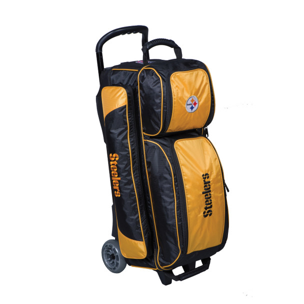 KR Strikeforce NFL Pittsburgh Steelers Triple Roller Bowling Bag left