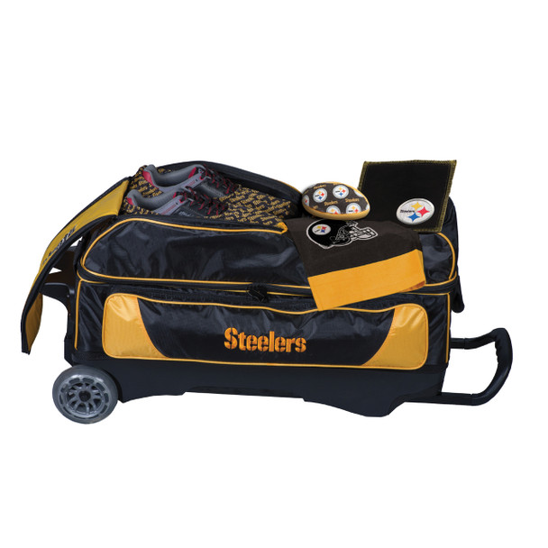 KR Strikeforce NFL Pittsburgh Steelers Triple Roller Bowling Bag shoe detail