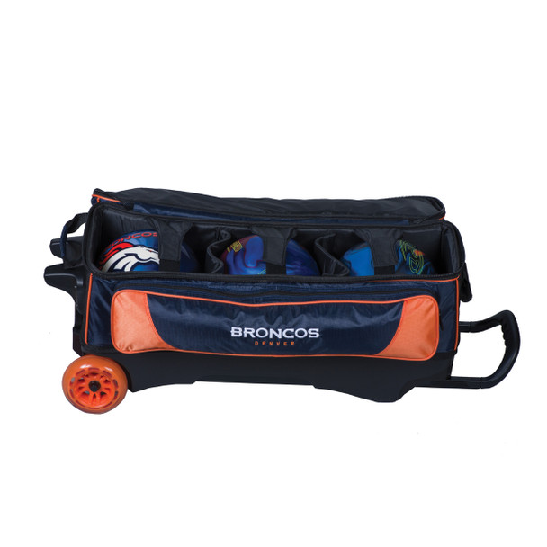 KR Strikeforce NFL Denver Broncos Triple Roller Bowling Bag ball detail