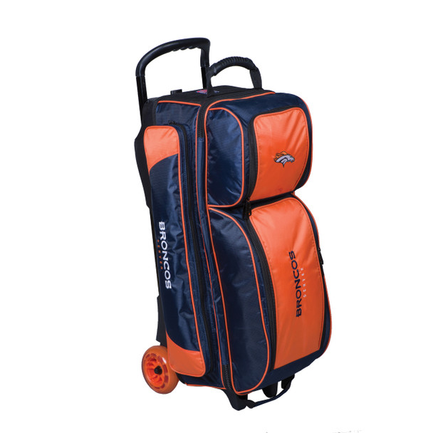 KR Strikeforce NFL Denver Broncos Triple Roller Bowling Bag left