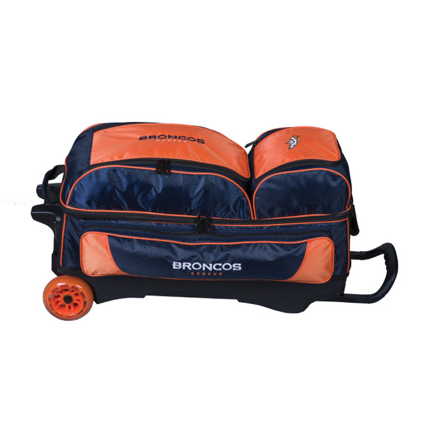 KR Strikeforce NFL Denver Broncos Triple Roller Bowling Bag laying down