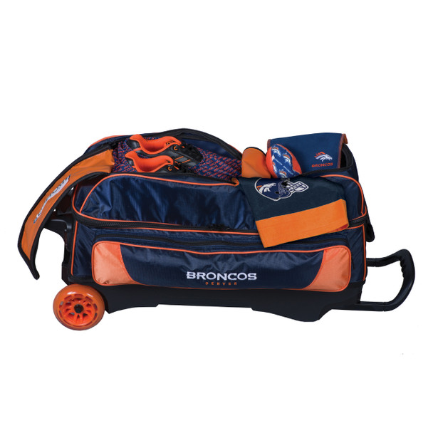 KR Strikeforce NFL Denver Broncos Triple Roller Bowling Bag shoe detail