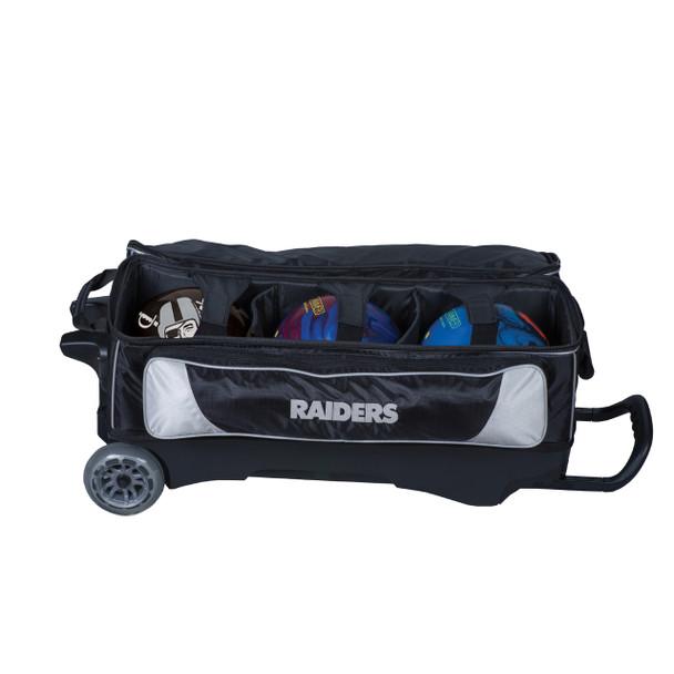 KR Strikeforce NFL Oakland Raiders Triple Roller Bowling Bag ball detail