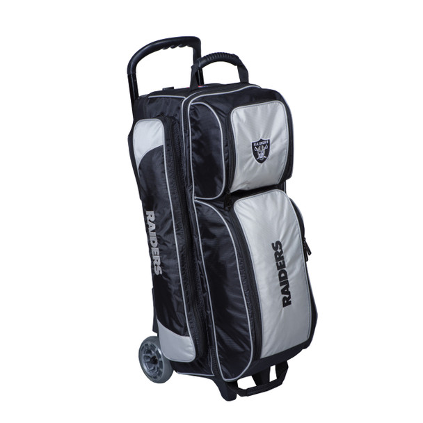 KR Strikeforce NFL Las Vegas Raiders Triple Roller Bowling Bag left