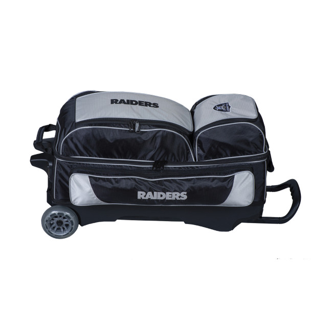 KR Strikeforce NFL Oakland Raiders Triple Roller Bowling Bag laying down