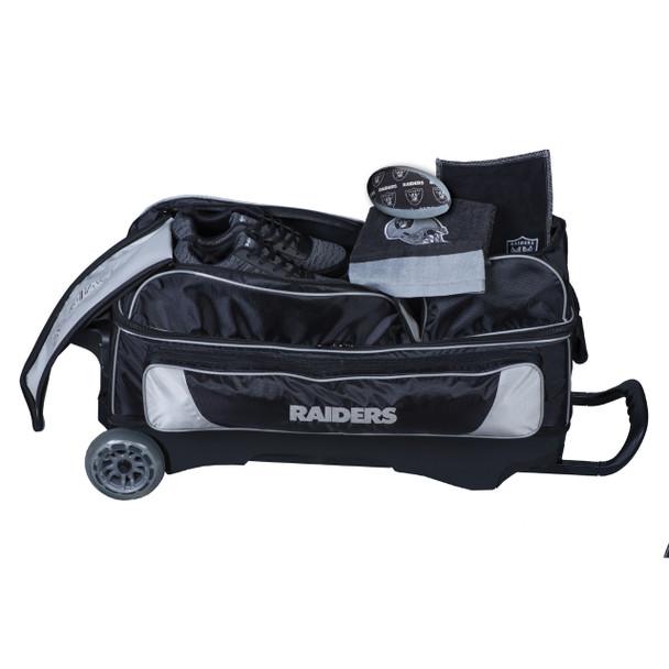 KR Strikeforce NFL Oakland Raiders Triple Roller Bowling Bag shoe detail