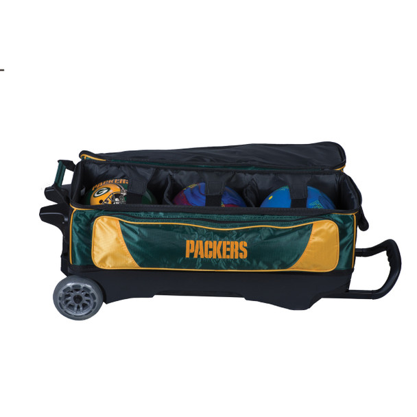 KR Strikeforce NFL Green Bay Packers Triple Roller Bowling Bag ball detail