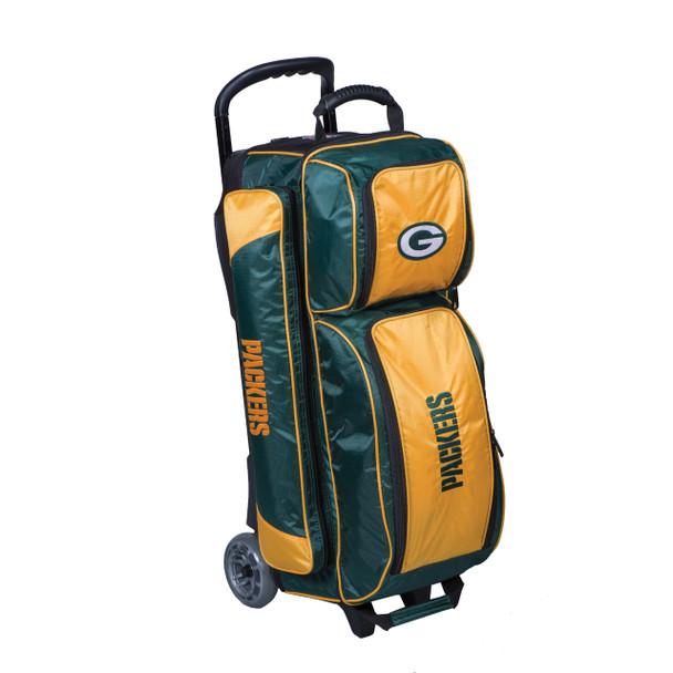 KR Strikeforce NFL Green Bay Packers Triple Roller Bowling Bag left