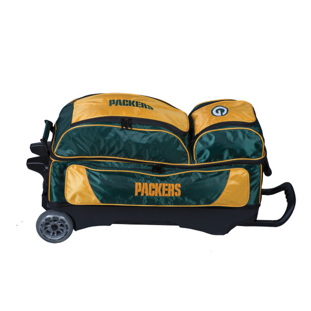 KR Strikeforce NFL Green Bay Packers Triple Roller Bowling Bag laying down