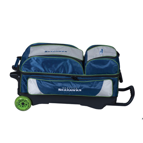 KR Strikeforce NFL Seattle Seahawks Triple Roller Bowling Bag laying down