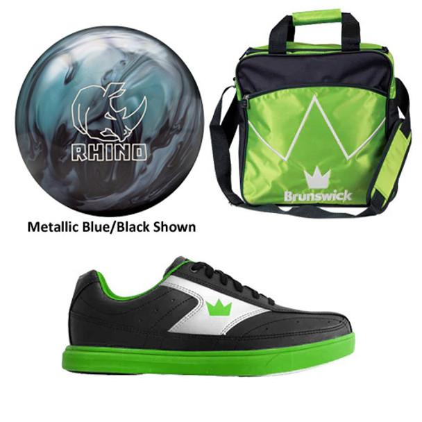 Brunswick Boys Rhino Bowling Ball, Bag and Shoes Package
