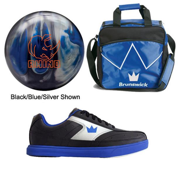 Brunswick Mens Rhino Bowling Ball, Bag and Shoes Package