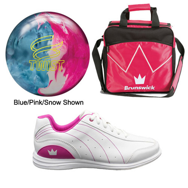 Brunswick Girls Twist Bowling Ball, Bag and Shoes Package