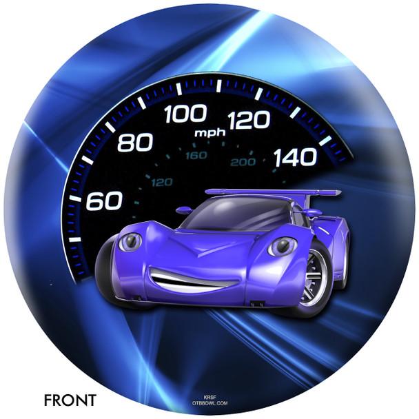 OTBB Disney Cars' Blue Bolt Bowling Ball front