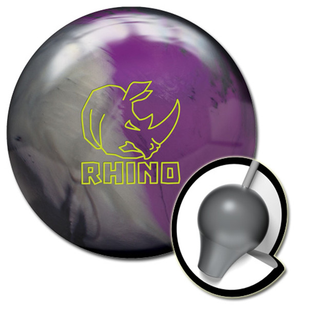 Brunswick Rhino Bowling Ball and Core - Charcoal/Silver/Violet