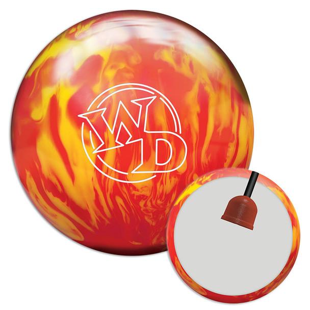 Columbia 300 White Dot Lava Fire Bowling Ball and core