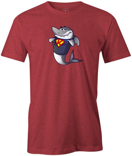 Kris Prather King Shark Cartoon Bowling Shirt - Red - brought to you by BuddiesProShop.com