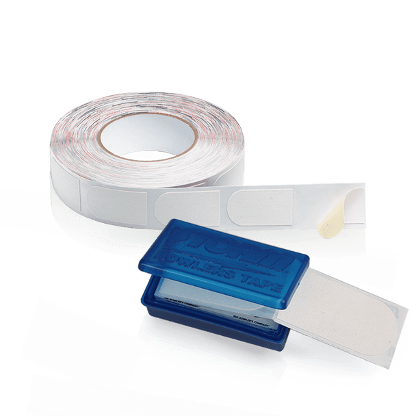 "Storm White Textured 3/4"" Bowling Tape - 30 pieces and 500 piece roll shown"