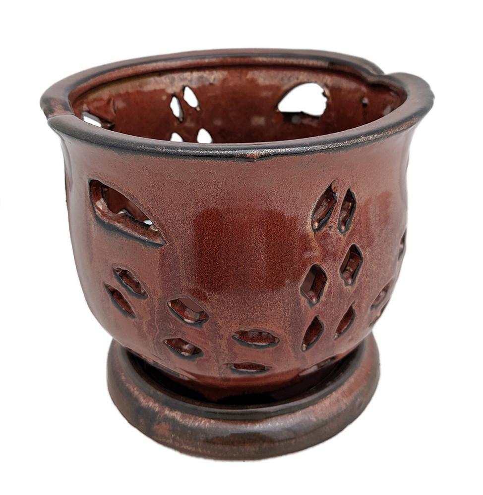 """Cauldron Orchid Pot/Saucer 6 5/8"""" x 5 3/4"""" - Copper"""
