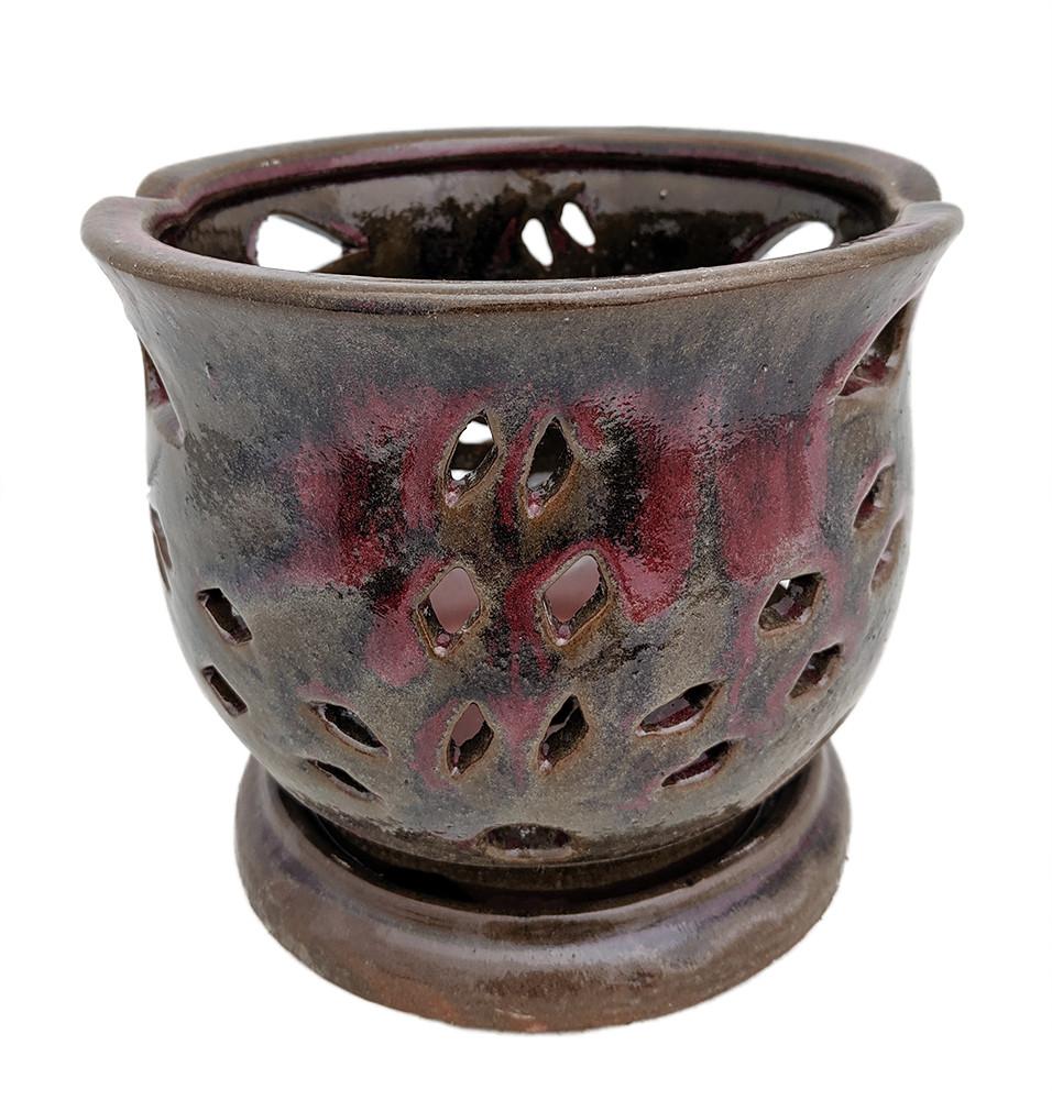"Cauldron Orchid Pot/Saucer 6 5/8"" x 5 3/4"" - Red"