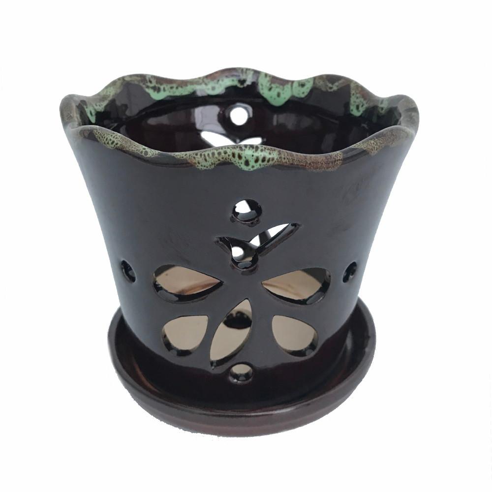 """Butterfly Ceramic Orchid Pot/Saucer 5"""" x 5"""" - Dark Brown Moss - #50248"""