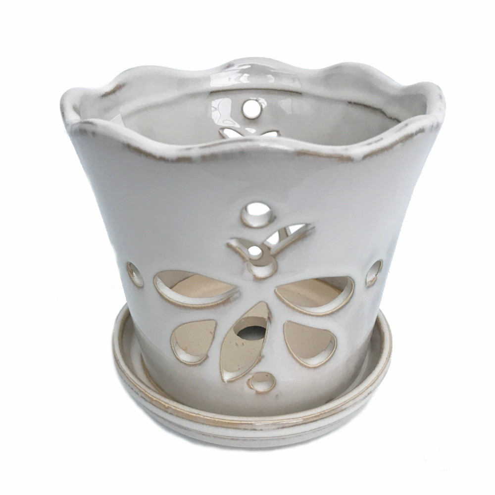 "Butterfly Ceramic Orchid Pot/Saucer 8"" x 7 3/8"" - White - #50250"