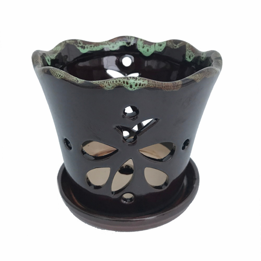 """Butterfly Ceramic Orchid Pot/Saucer 8"""" x 7 3/8"""" - Dark Brown Moss - #50250"""