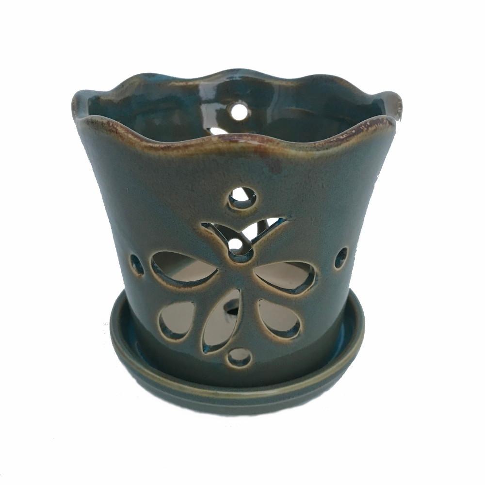 "Butterfly Ceramic Orchid Pot/Saucer 8"" x 7 3/8"" - Ocean Teal - #50250"