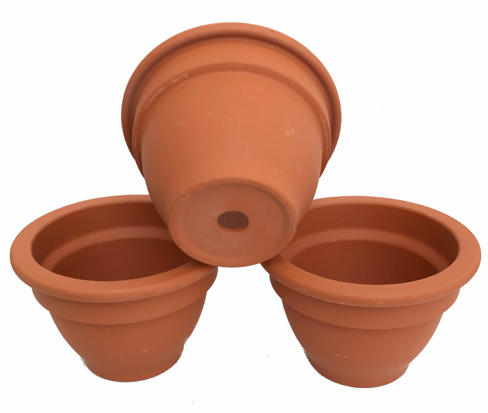 """3 - Bell Shape Clay Pots - 5"""" X 3.25"""" - Great for Plants and Crafts"""