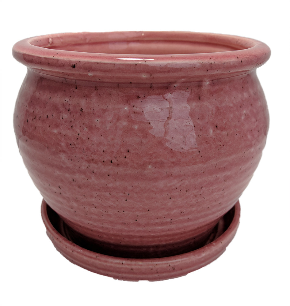 """Speckle Planter with Attached Saucer - Rose - 6"""" x 5 1/2"""""""