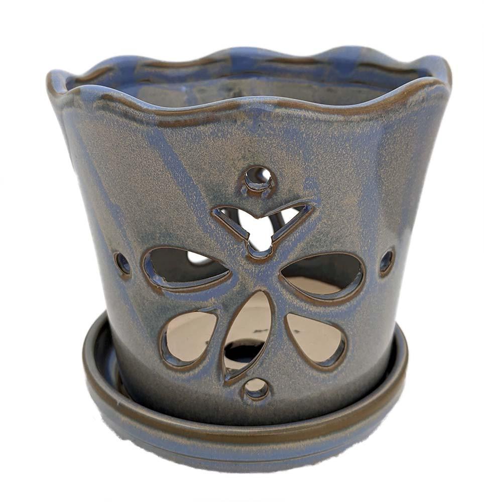 "Butterfly Ceramic Orchid Pot/Saucer 8"" x 7 3/8"" - Blue - #50250"