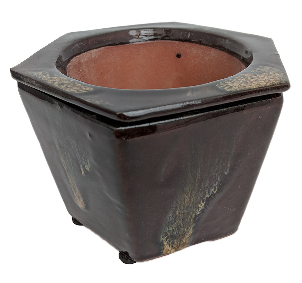 "Self Watering Glazed Ceramic Pot - Brown - 6 3/8"" x 5 1/2"""
