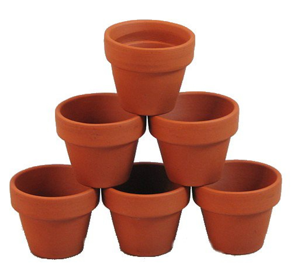 """10 - 2.5"""" x 2.25"""" Mini Clay Pots - Great for Plants and Crafts"""
