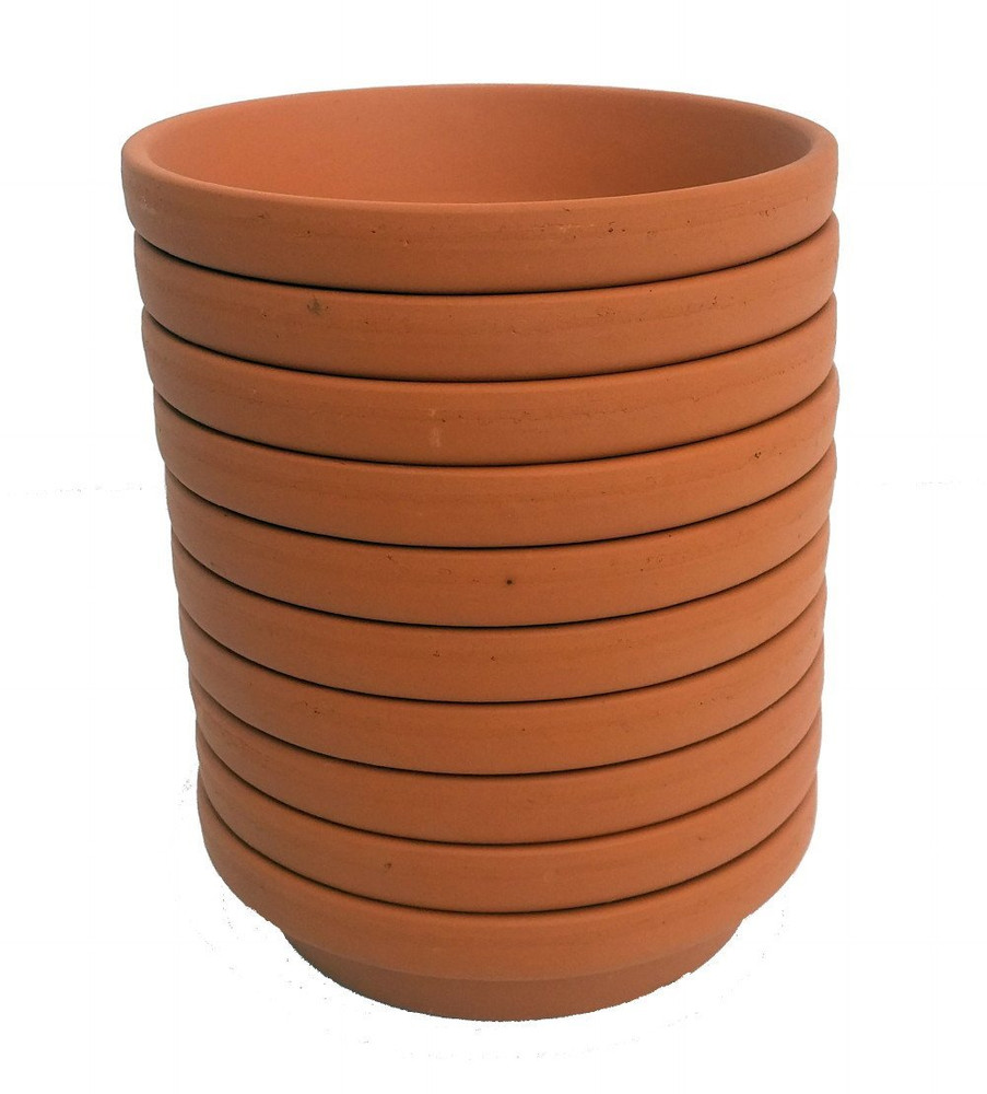 "10 -  3"" x 2.5"" Unglazed Clay Saucers - For Plants, Crafts, Fairy Gardens"