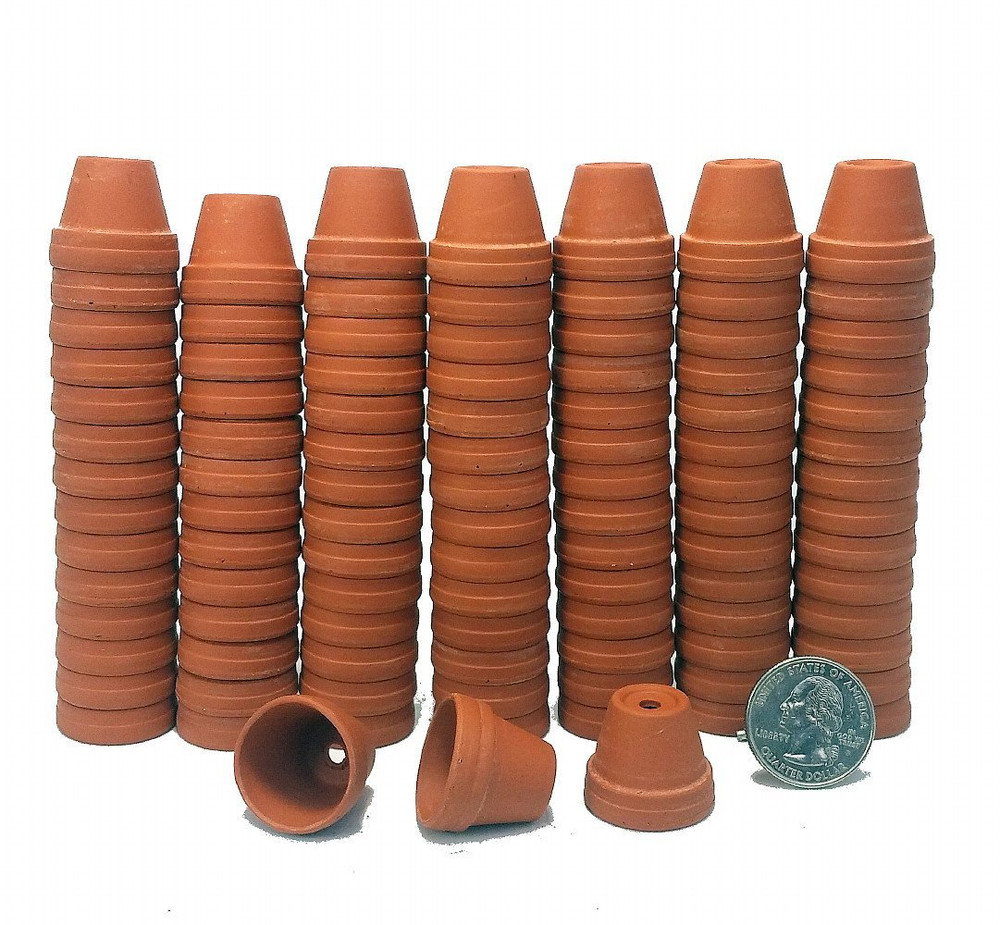 "100 - 7/8"" Thimble Size Clay Pots - Great for Plants/Crafts/Fairy Gardens"