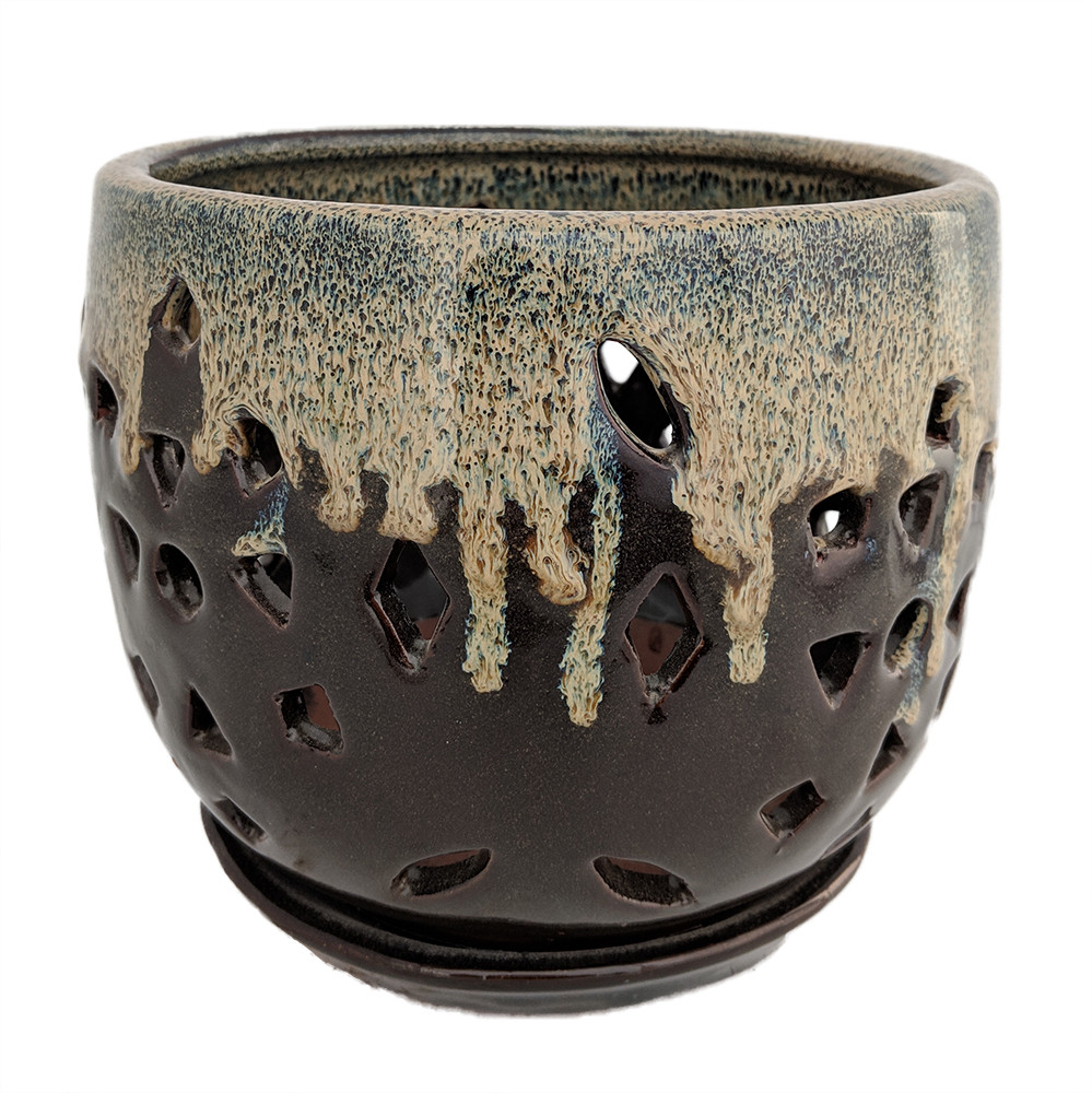 "Flower Cut Glazed Ceramic Orchid Pot/Saucer - Beige on Brown - 7.5"" x 7"""