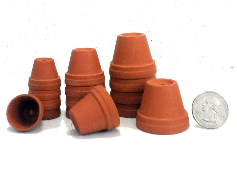 """15 - Assorted Size Clay Pots - 7/8"""",1 1/8"""",1 3/8 - Plants/Crafts/Fairy Gardens"""