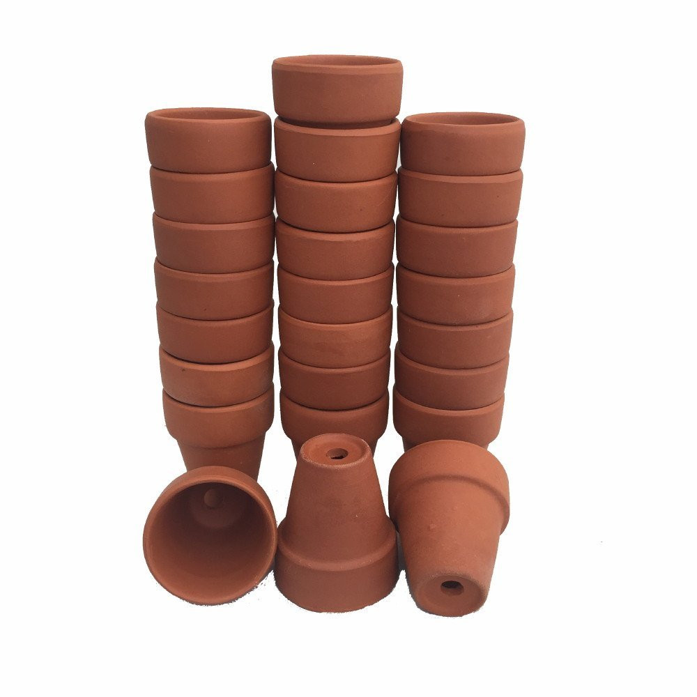 """25 - Ultra Mini 1 1/2"""" x 1 7/8"""" Clay Pots - Great for Fairy Gardens and Crafts"""