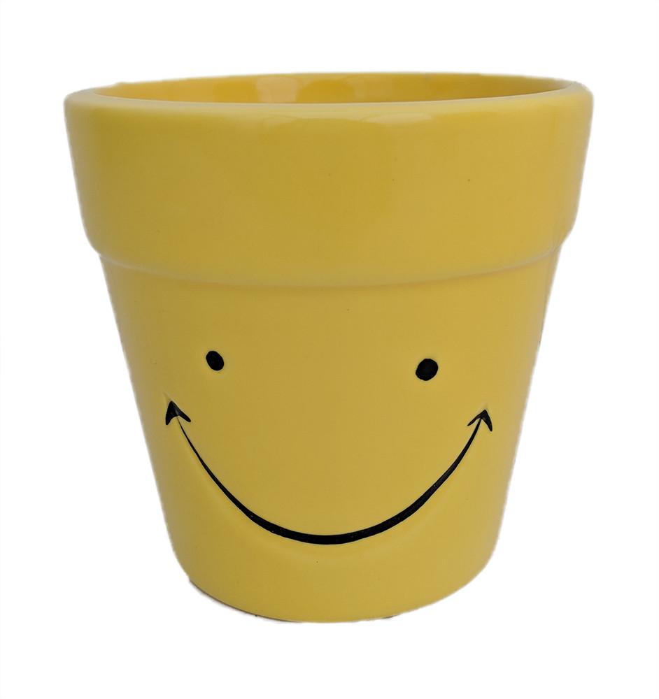"""Happy Face Ceramic Pot - 3.75"""" x 4"""""""
