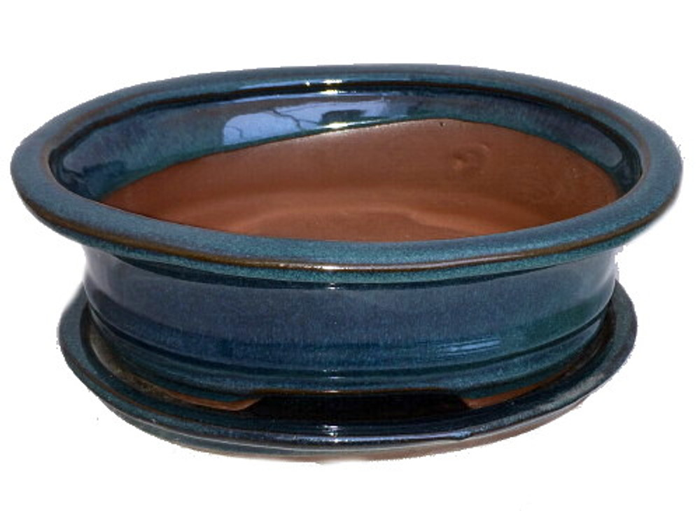 "Ceramic Bonsai Pot/Attached Saucer -Deep Moss Green- 8"" x 6.25"" x 3"" + Felt Feet"