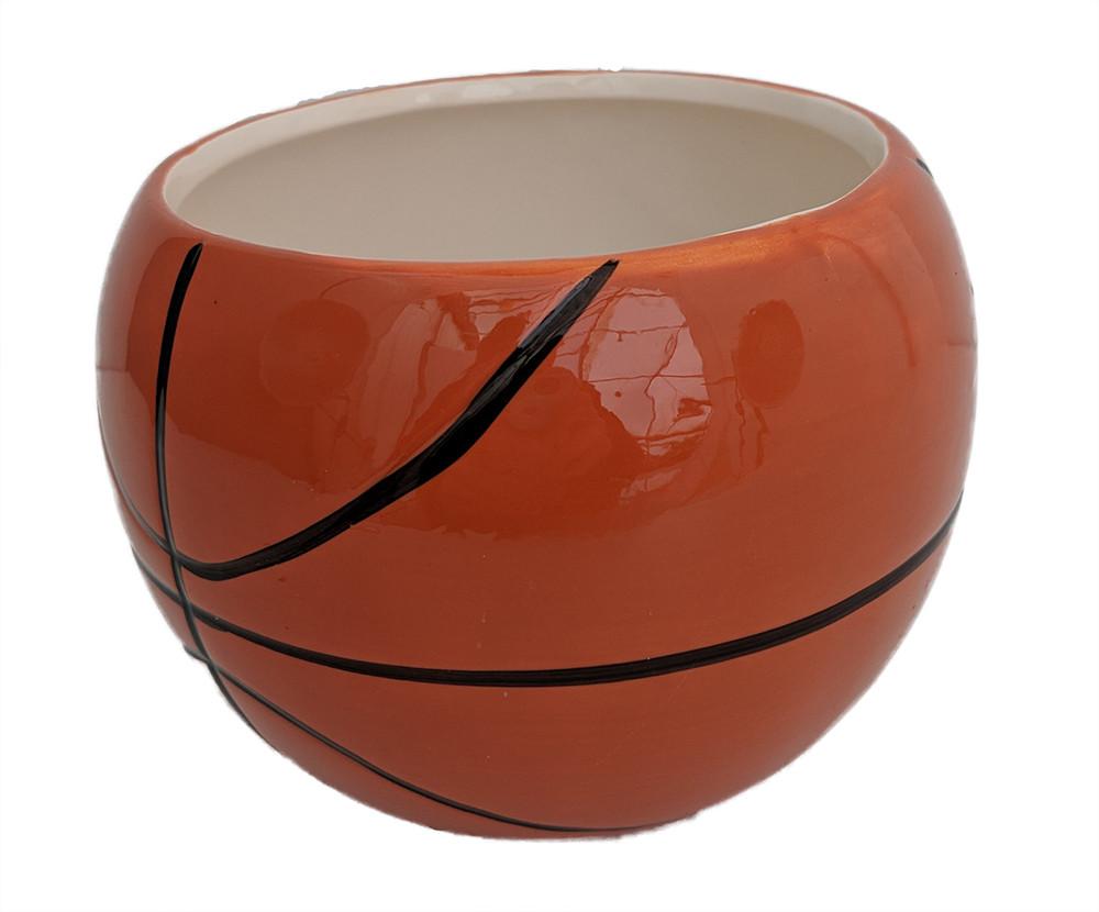 "Basketball Ceramic Sports Planter  - 3.5"" x 3.75"""