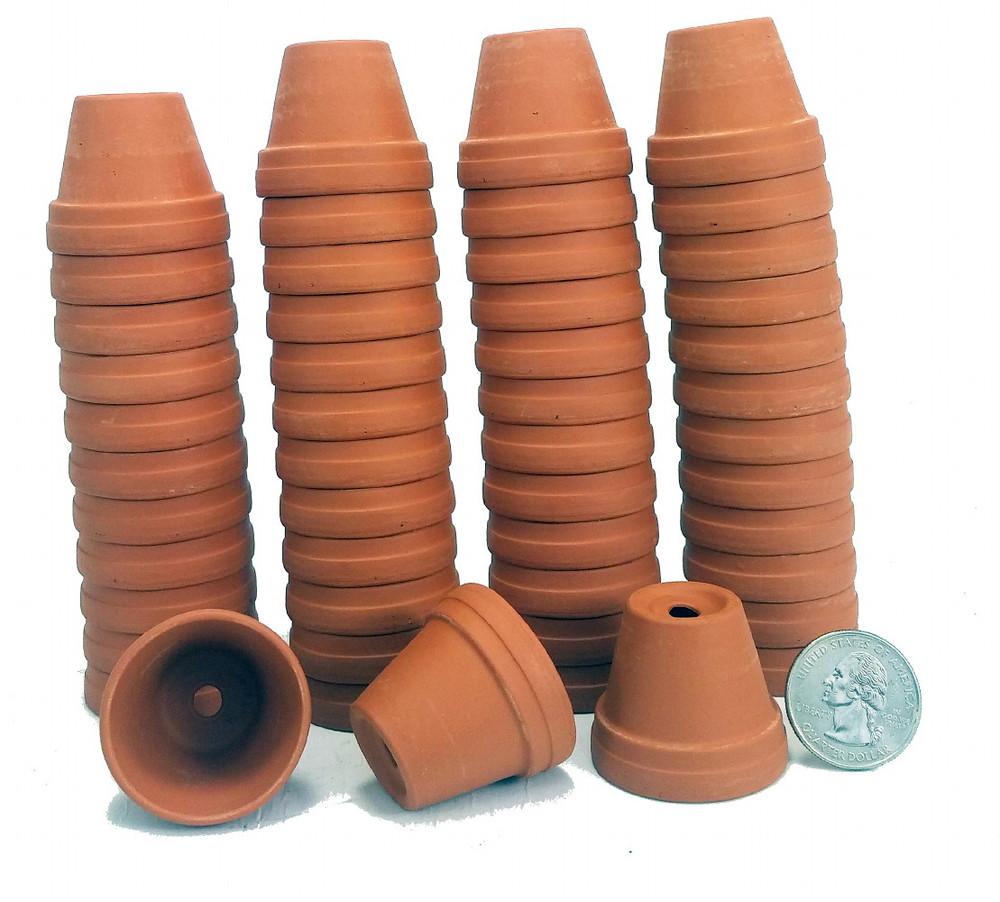 "50 - 1 3/8"" Tiny Size Clay Pots - Great for Plants/Crafts/Fairy Gardens"