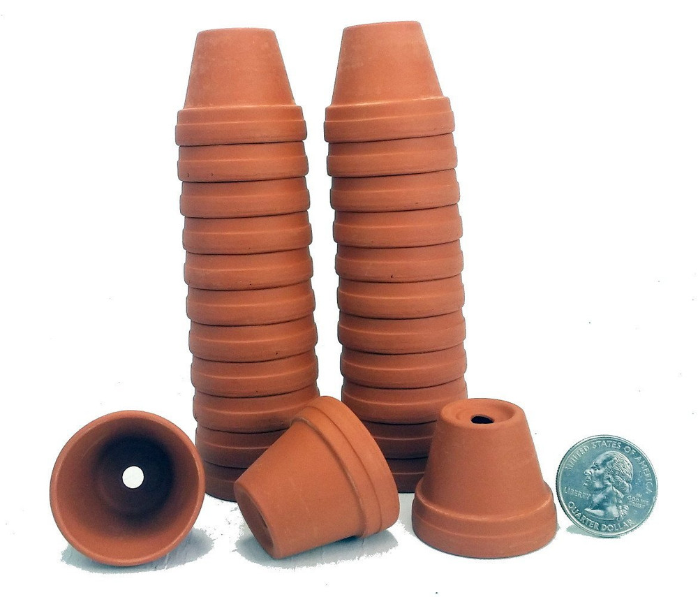 "25 - 1 3/8"" Tiny Size Clay Pots - Great for Plants/Crafts/Fairy Gardens"