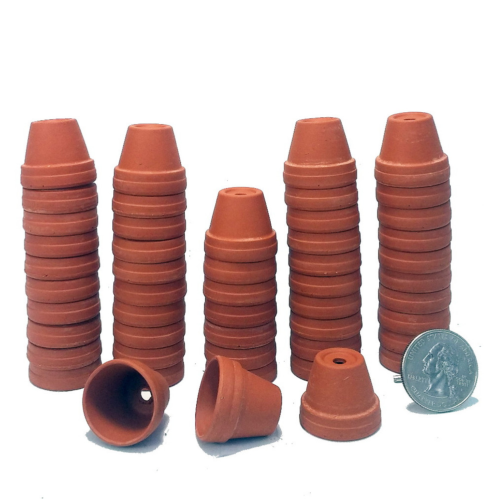 """50 - 7/8"""" Thimble Size Clay Pots - Great for Plants/Crafts/Fairy Gardens"""