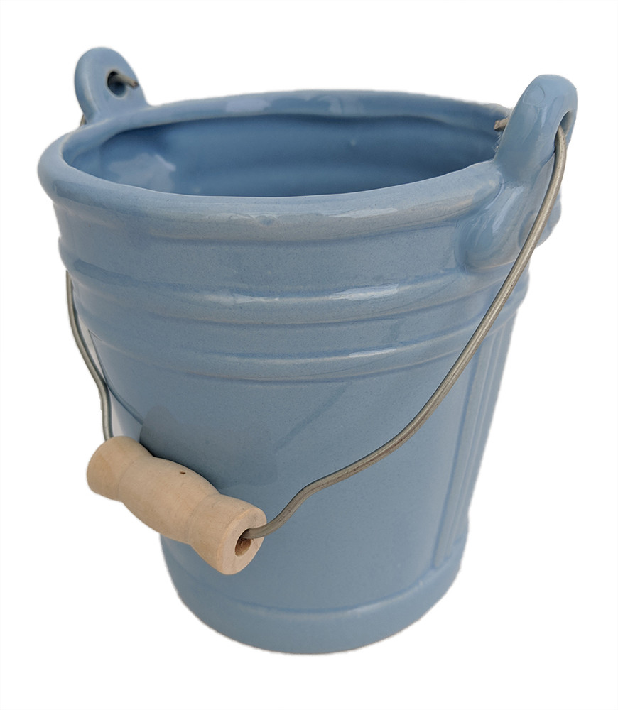 "Blue Ceramic Pail Planter - 3.25"" x 4.25"