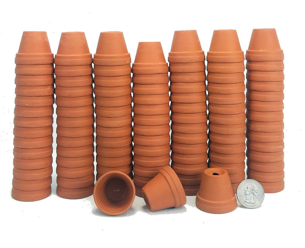 """100 - 1 3/8"""" Tiny Size Clay Pots - Great for Plants/Crafts/Fairy Gardens"""