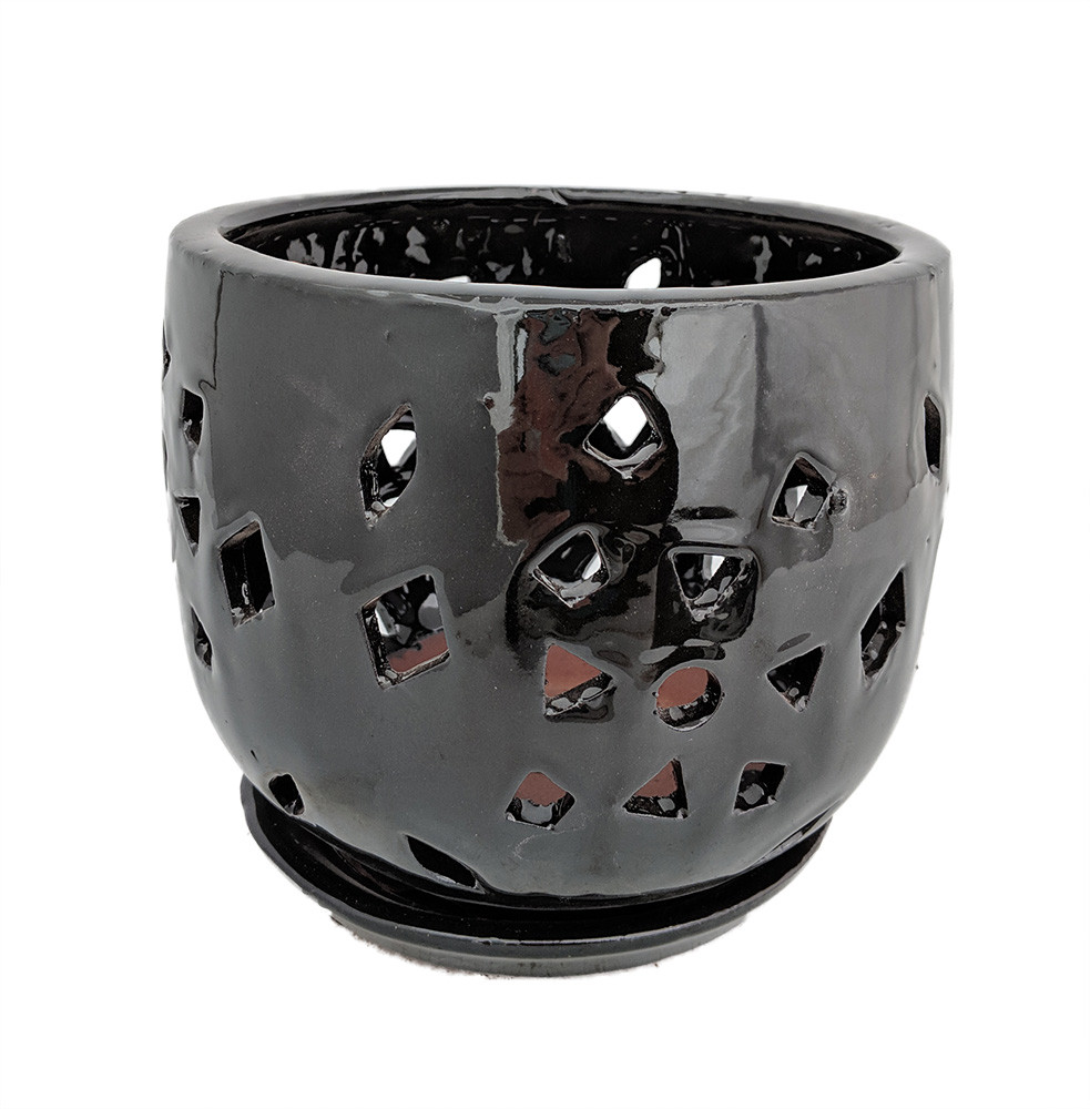 "Flower Cut Glazed Ceramic Orchid Pot/Saucer - Black Luster - 7"" x 8"""