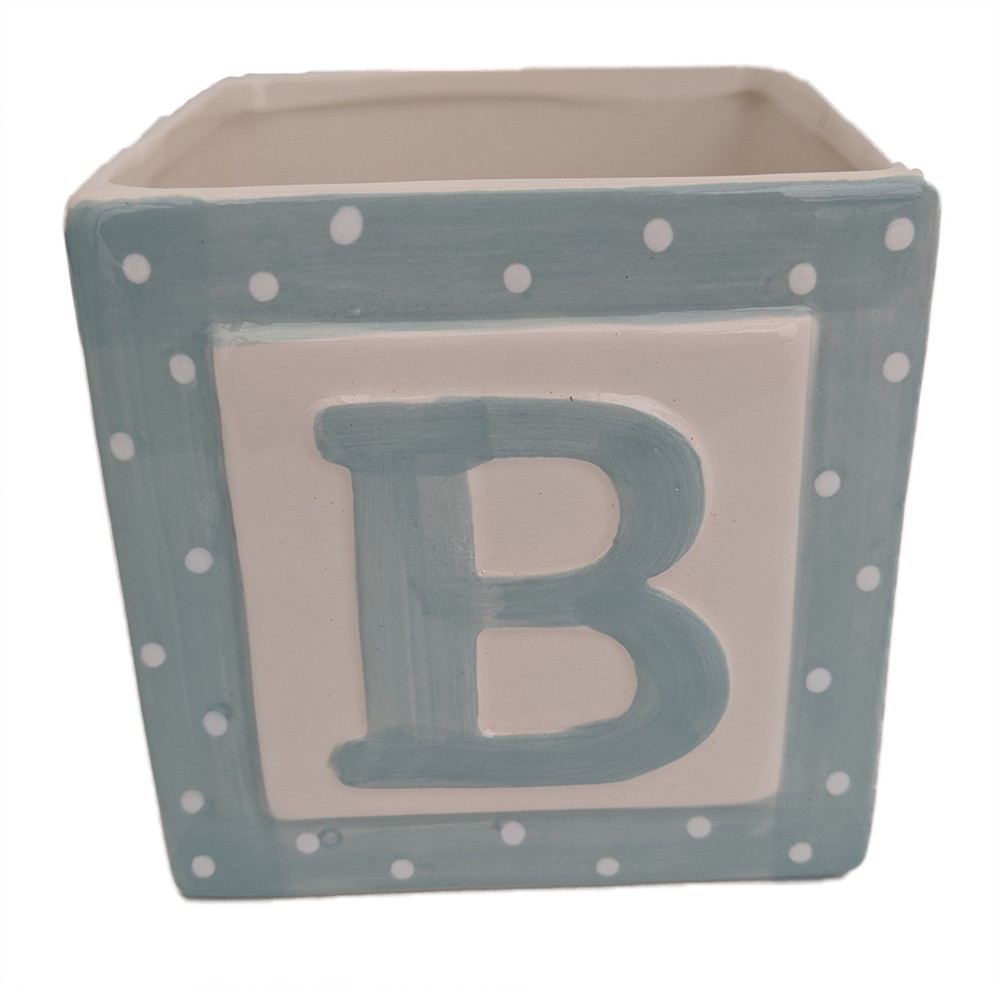 "Blue Baby Block Ceramic Planter - 3.75"" x 3.75"