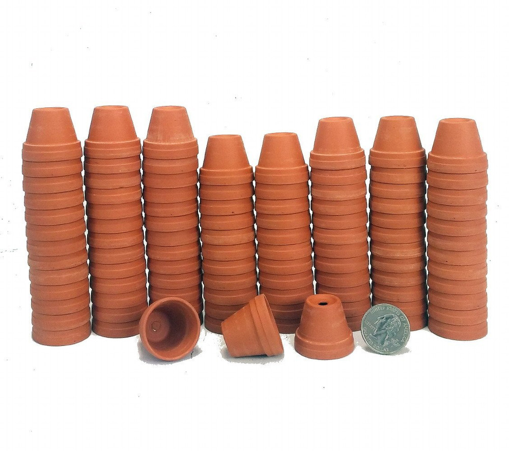 """100 - 1 1/8"""" Teensy Size Clay Pots - Great for Plants/Crafts/Fairy Gardens"""